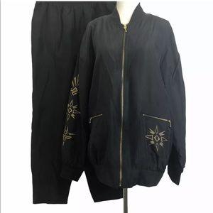 Vintage 80's Saint Germain Silk Track Pant Suit
